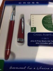 """Cross Aventura Black Fountain Pen """"M"""" Nib"""