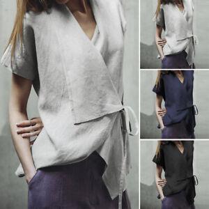 ZANZEA-8-24-Women-Casual-Short-Sleeve-Tie-Up-Cotton-Top-Tee-T-Shirt-Wrap-Blouse