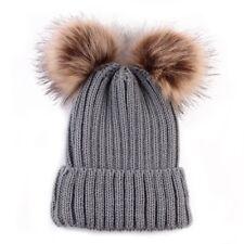 c38a41d1862c2 item 5 Women s Winter Chunky Knit Double Fur Pom Pom Cute Beanie Hat  Crochet Ski Cap -Women s Winter Chunky Knit Double Fur Pom Pom Cute Beanie  Hat Crochet ...