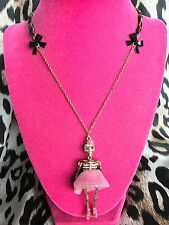 Betsey Johnson Vintage Vampire Slayer Pink Tutu Ballerina Skeleton Necklace RARE