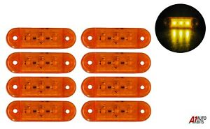 8x-Amber-Yellow-Small-Side-Marker-Lights-3-Led-Lights-Lamp-Lorry-Trailer-12v-24v