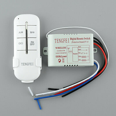 220V 2 Channel Way Wireless ON/OFF Home Light Switch Box Remote Control