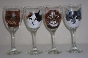 Custom Hand Painted Cat Dog Pet Wine Glasses Set Of 2 From