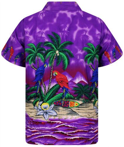 Funky Chemise Hawaïenne Chemise Messieurs Parrot manches courtes poitrine sac hawaiianshirt