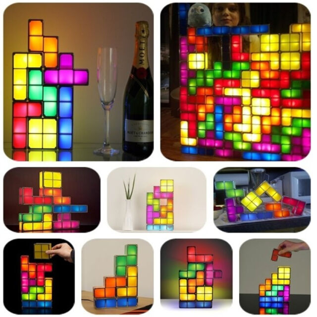 Retro Style Tetris Jigsaw Puzzle Constructible Stackable LED Light Desk Lamp