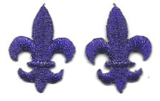 FLEUR DE LIS-PURPLE METALLIC (Sm)(2 Pc)-Iron On Embroidered Applique/Mardi Gras