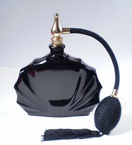 FRENCH PERFUME BOTTLE BLACK CLAM SHELL DESIGN BLACK ATOMIZER