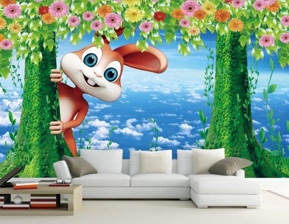 3D Blauer Himmel, Kaninchen 2 Fototapeten Wandbild Fototapete BildTapete Familie