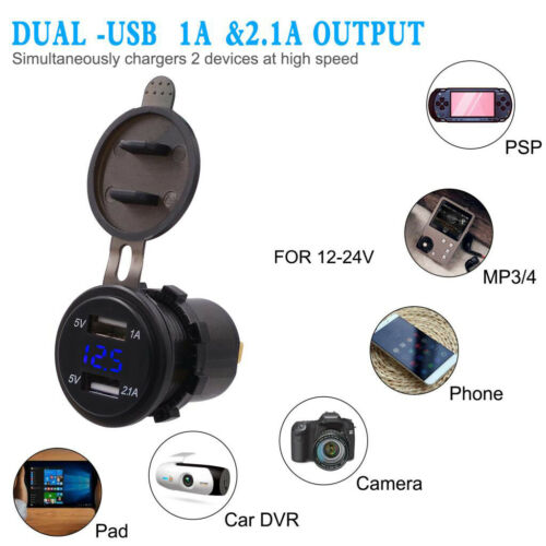 2.1A LED USB Dual 2 Port Adapter Buchse Autoladegerät für Motorräder Schiffe