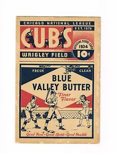 1934 Chicago Cubs Program at Wrigley Field vs. Pirates (w/ coach Honus Wagner)