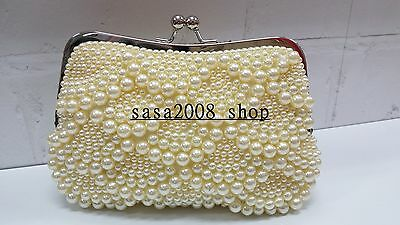 Ivory Color  New Wedding Evening Purse Clutch Pearl  Bag^Free shipping To UK^