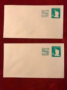 US Stamped Envelope 1971 SC. U561 6c US Postage Revalued, Qty 2. #A200326-07