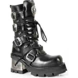 New-Rock-373-S3-femmes-cuir-noir-talon-gothique-fashion-tres-elegant-Biker-Boot