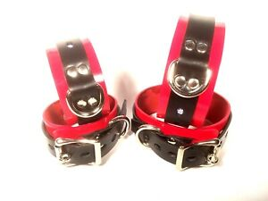 Lockable-Red-amp-Black-Leather-adult-wrist-ankle-set-cuff-wristband-restraint
