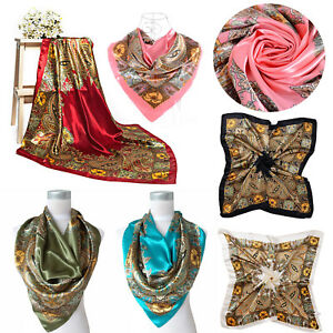 5e387e7656a Details about Ladies Woman Floral Bandana Square Head Neck Scarf Wrap Satin  Silk Vintage Shaw