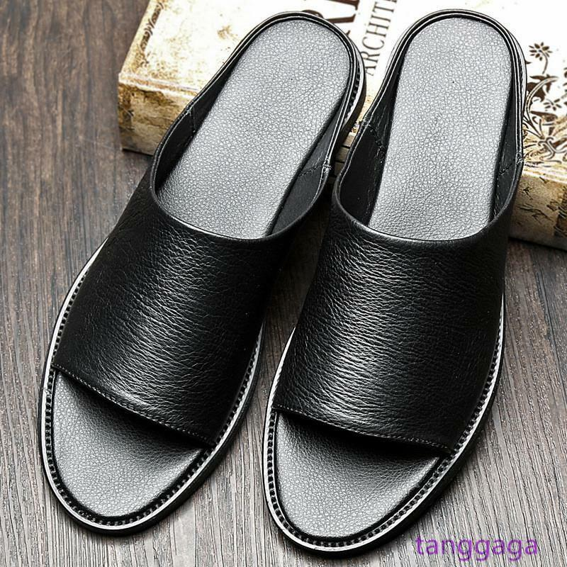 Real Leather Mens Leather Slipper Casual Comfortable Open Toe Seal Slides sautope