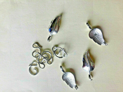 Silver Tone Toggle Fermoirs 30//20mm motif feuille Jewellery Making Findings