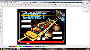 Agressif Williams' Comet' Flipper Machine Backglass Translite Remplacement Excellent Effet De Coussin