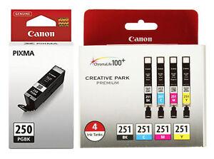 Canon PGI 250 CLI 251 CMYK Ink Cartridges Set of 5 OEM NEW Genuine Sealed Setup