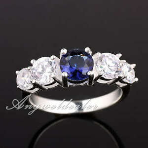 Round-Cut-5-stone-Women-Real-S925-Sterling-Silver-Dress-Ring-Birthstone-Size