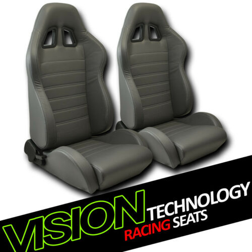 JDM SP Style Gray PVC Leather Reclinable Racing Bucket Seats w//Sliders Pair V12
