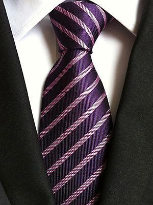 (nt049)menwithtie Purple Pink Stripe Men Necktie Wedding Office Party Formal Tie Online Rabatt