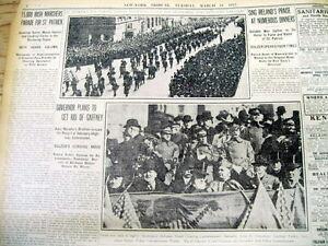 BEST 1913 New York City newspaper w ST PATRICKS DAY PARADE description & photos