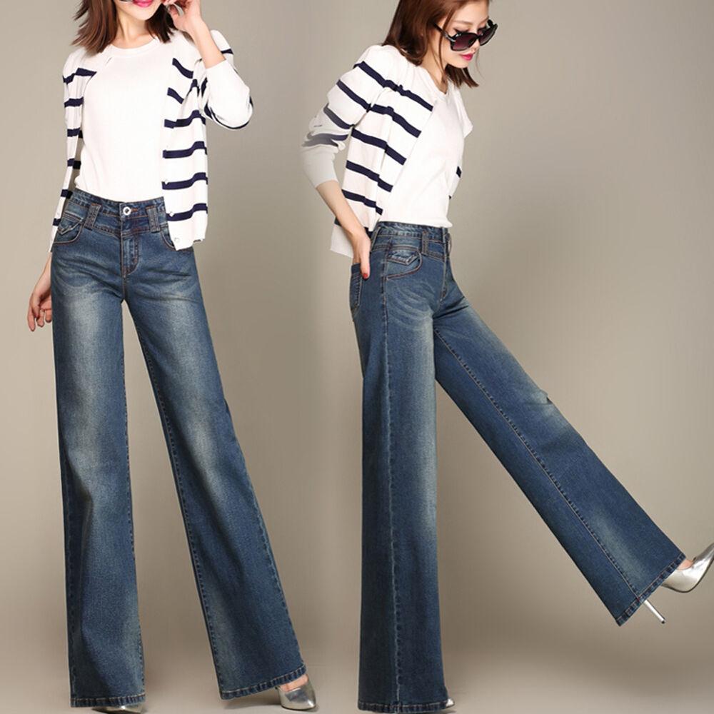 Women Wide Leg Bootcut Denim Jeans Flare Trousers Pants Palazzo High Waist bluee