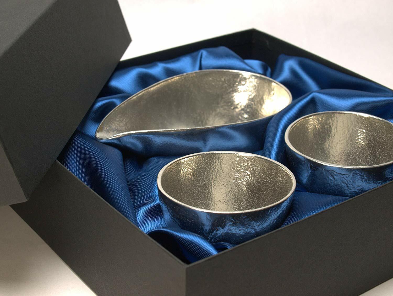 Nousaku asimétrica pequeño Sake dos artesanía tradicional Set Lujo Caja de regalo de Japón
