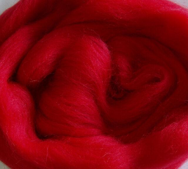 30g Merino Wool Roving Top FIRE RED felting dreads doll hair spinning fibre 1oz
