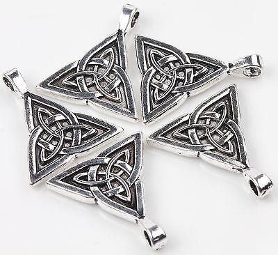 2pcs Tibet Silver Chinese Knot Charms Pendant Jewelry Making Bracelet 28x24mm