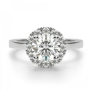 1.20 Ct Round Moissanite Engagement Ring Real 18K Solid White Gold ring Size 5