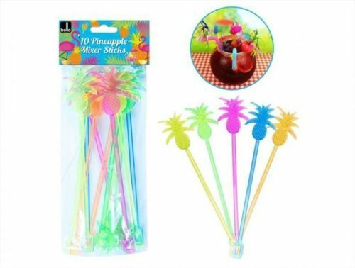 10 PINEAPPLE Mixer Sticks Plastic Colourful Stiring Drinks Cocktail Decorations