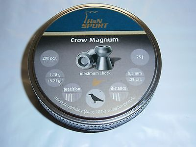 H/&N CROW MAGNUM HOLLOW POINT .22 CAL LEAD PELLETS 200 count 18.21 grains DOMED