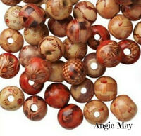 Wholesale Painted Art Wood Round Beads 8mm, 10mm, 12mm Pick Your Lot Size