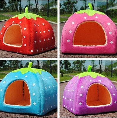 3 Size Soft Pet Dog Cat Bed Strawberry House Kennel Doggy Warm Cushion Basket J8