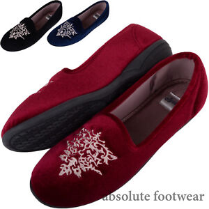 Ladies-Womens-Velour-Style-Slip-On-Slippers-Indoor-Shoes-Attractive-Design