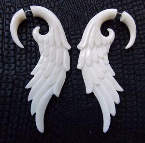 Image Is Loading Pair Of Angel Wing Split Gauge Earrings Tribal