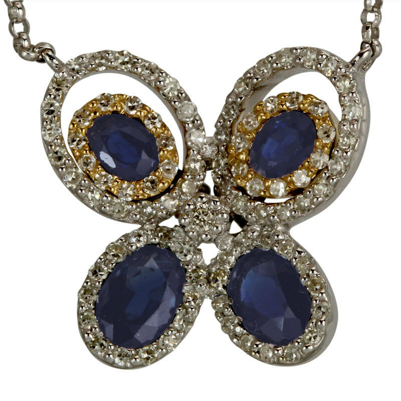 Butterfly Set With Oval Sapphires And Pave Diamonds