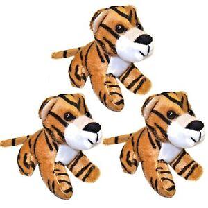 3 small tiger soft toys plush stuffed safari jungle animals
