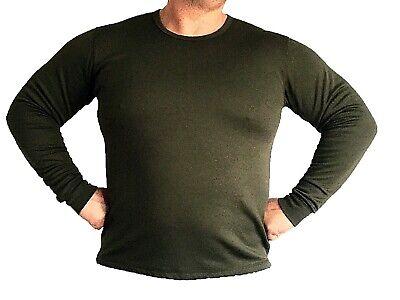 Adattabile Army Thermal Vest Jumper Olive Green Long Sleeve British Army Surplus Underwear