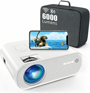 Vidéoprojecteur WiFi Bluetooth , 6000 Lumens TOPTRO Mini Projecteur Blanc