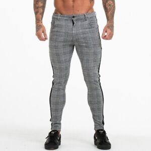 Mens-Classic-Plaid-Pants-Slim-Fit-Trousers-Casual-Jogger-Pants-Tight-fit-Stretch