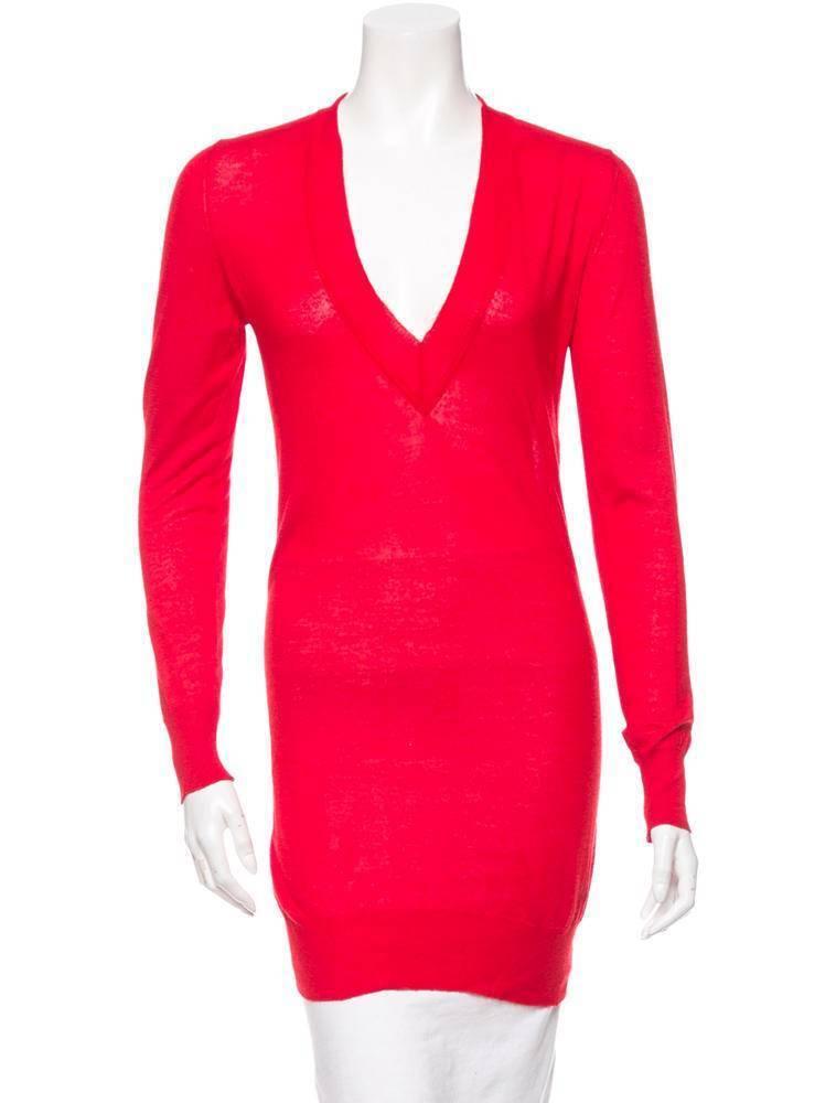 Versace donna rosso Cashmere + Seta Maglia Manica Lunga Scollo a V