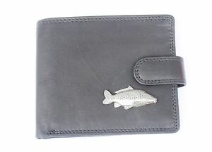 Mirror-Carp-Fishing-Mens-Leather-Wallet-BLACK-or-Brown-Fishing-Gift-240