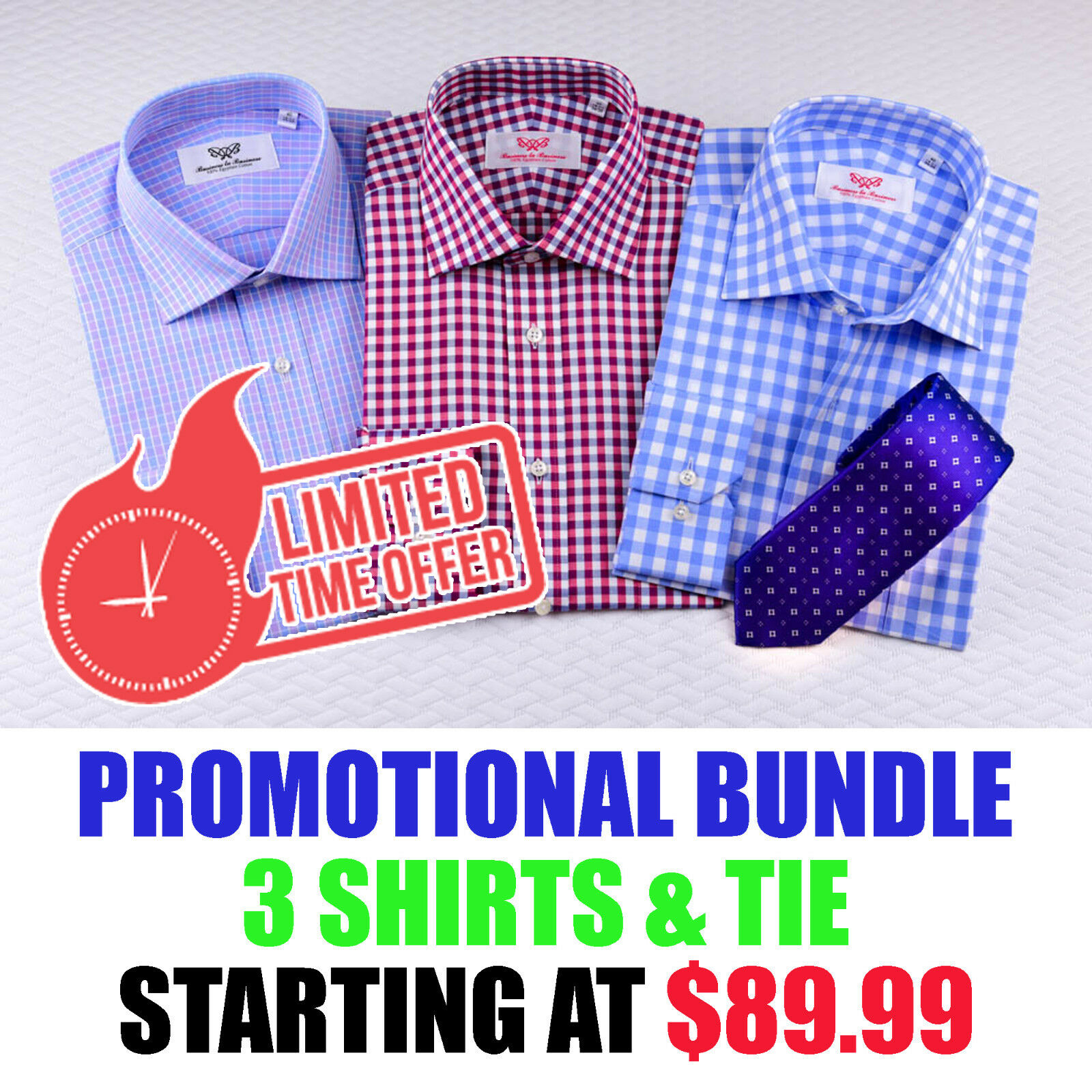Crazy Time Limited Sales For 3 Geschäft Shirts Bundle With Complimentary Tie