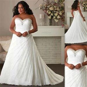 d76174b7c185c 2019 New White Ivory A-Line Wedding Dress Bridal Gown Stock Plus ...