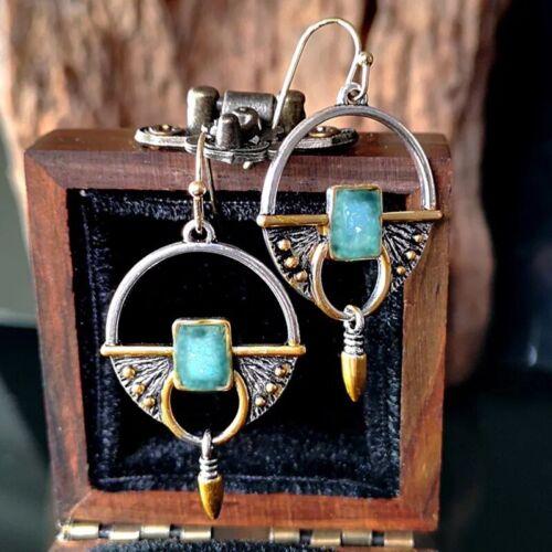 Estilo geométrico Cuelgan Gota Gancho Pendientes Resina Joyería étnica Azul Vintage