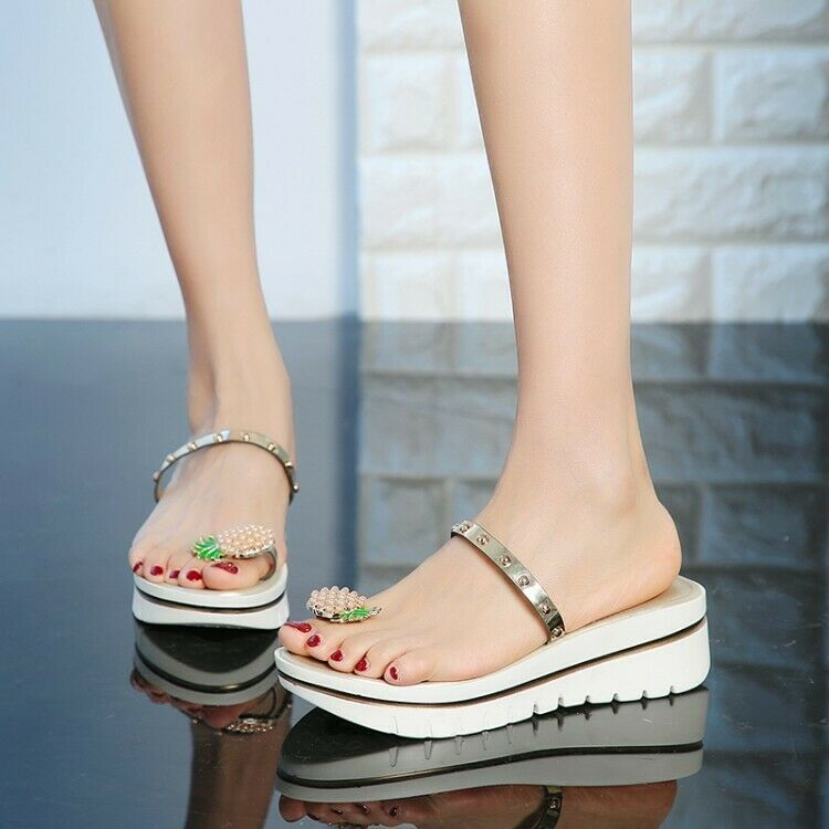 moda Wouomo Seals clip toe Wedge Heels Slippers Summer fruit sautope Dimensione