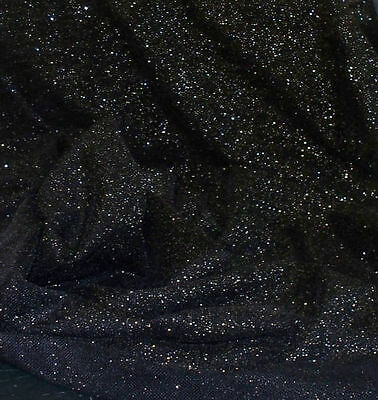 BLACK WITH GOLD SPARKLES 4 WAY STRETCH SHEER NET POWER MESH BODY STOCKING FABRIC